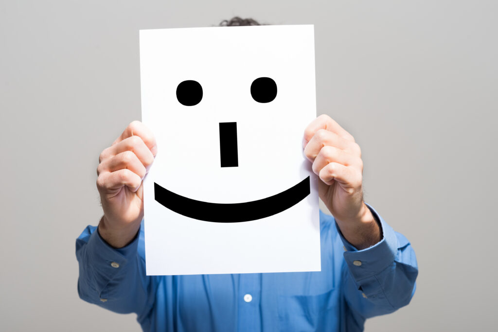 Happy Face Poster Over Face