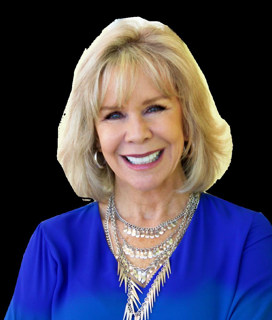 Motivational Speaker Linda Larsen Headshot in Blue Cropped for Print