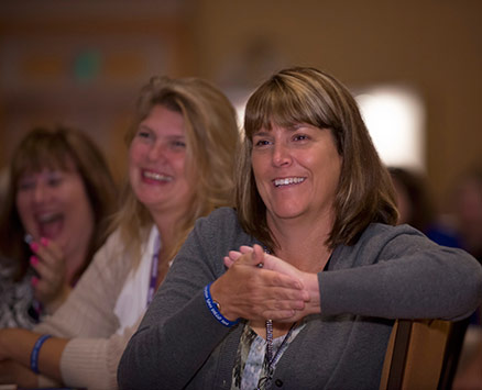 Motivational Speaker Linda Larsen Entertain Three Women Audience Members