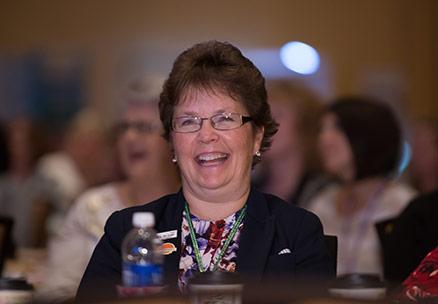 Motivational Speaker Linda Larsen Happy Audience Laughs Out Loud