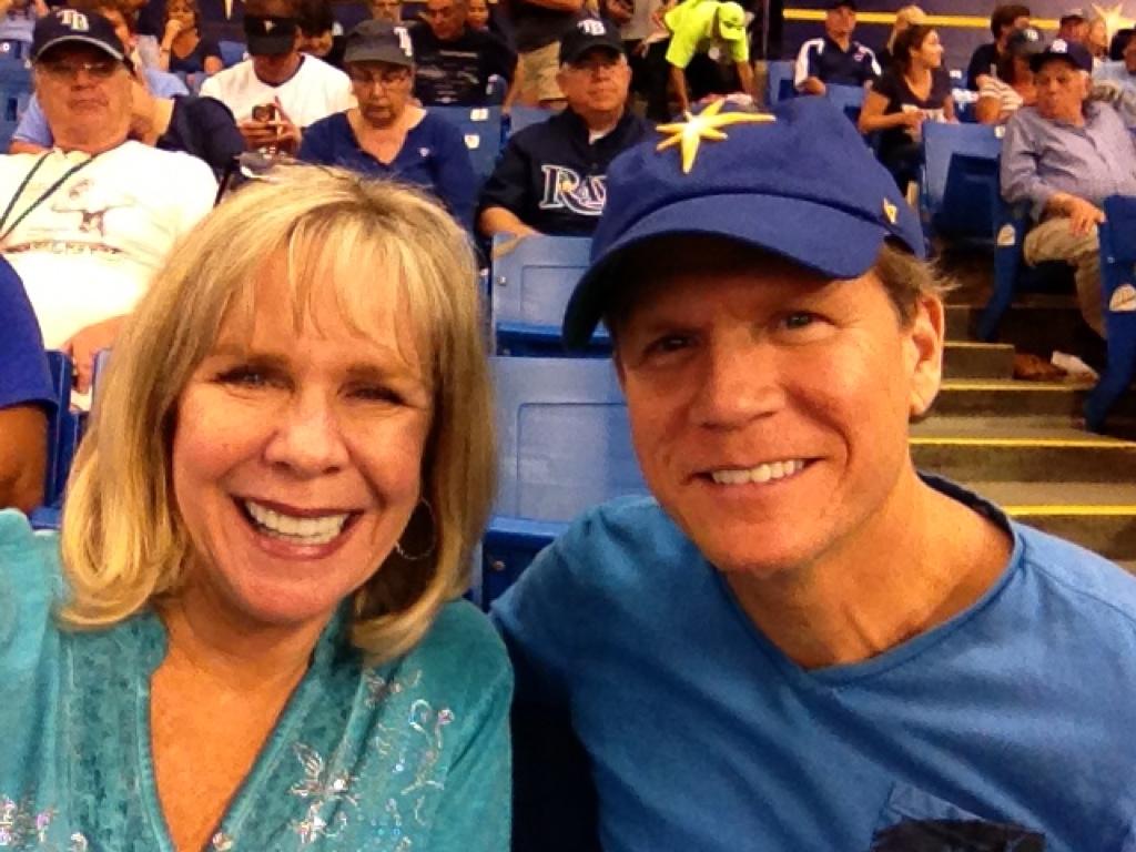 Linda with Son Miles Larsen at a Tampa Bay Rays Baseball Game